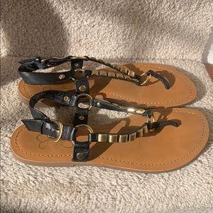 "Black ""Jeko"" sandals by Jessica Simpson"